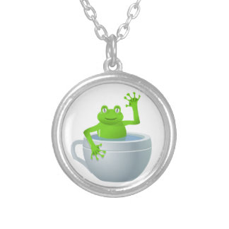 Funny Unexpected Frog in My Tea Cup Silver Plated Necklace