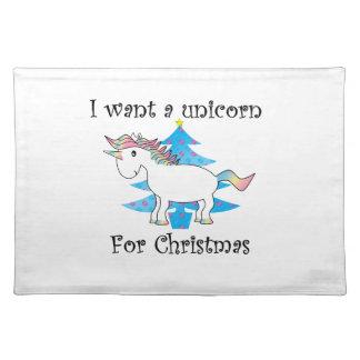 Funny unicorn christmas gift place mats