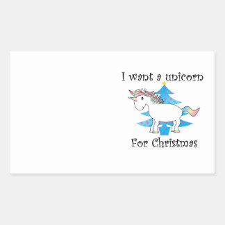 Funny unicorn christmas gift rectangular sticker