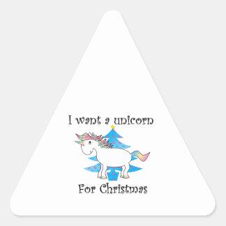 Funny unicorn christmas gift triangle sticker