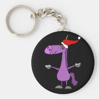 Funny Unicorn Christmas Holiday Art Keychain