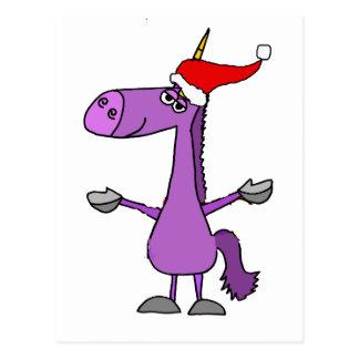 Funny Unicorn Christmas Holiday Art Postcard