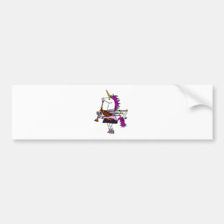 Funny Unicorn Playing Bagpipes Art Bumper Sticker