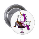 Funny Unicorn Playing Bagpipes Art Button