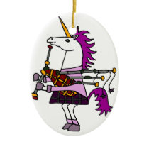 Funny Unicorn Playing Bagpipes Art Ceramic Ornament