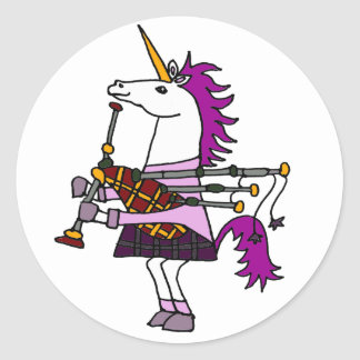 Funny Unicorn Playing Bagpipes Art Classic Round Sticker