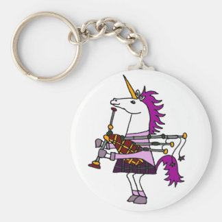 Funny Unicorn Playing Bagpipes Art Keychain
