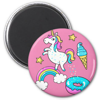 Funny unicorn pooping rainbow sprinkles on donut magnet