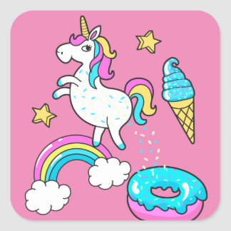 Funny unicorn pooping rainbow sprinkles on donut square sticker