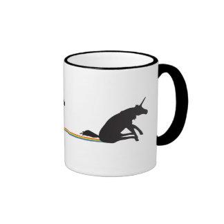 Funny Unicorn Pooping Rainbows Ringer Mug