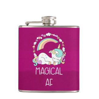 Funny Unicorn Saying Magical AF Hip Flask