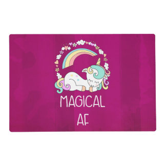Funny Unicorn Saying Magical AF Placemat