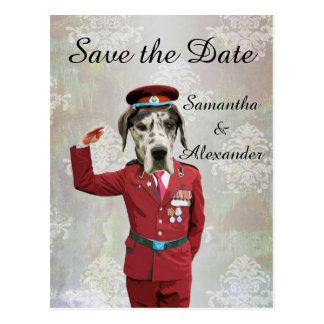 Funny uniformed military dog  save the date postcard