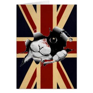 Funny Union Jack British Kitty Greeting Card
