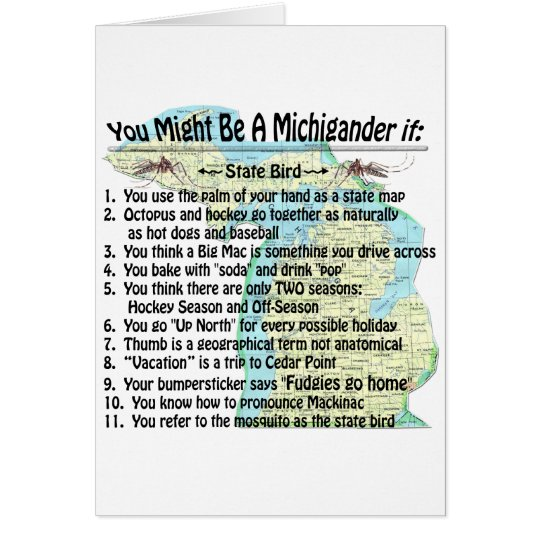 FUNNY Up North Yooper You Might Be Michigander If Card