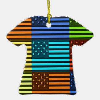 Funny USA Flag Ceramic T-Shirt Ornament