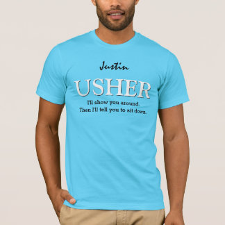 Funny Usher Customizable Wedding Party V011 AQUA T-Shirt