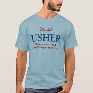 Funny Usher Customizable Wedding Party V07 BLUE T-Shirt