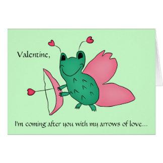 Funny Valentine cupid frog Card