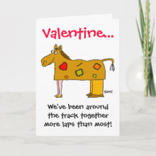 We've been around the track together... Cute and Funny Valentine's Day Card for Married Couples, or Two People who have been Together for a While.