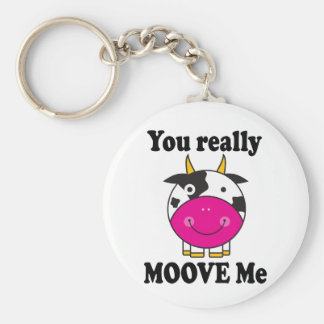 Funny Valentine Moove Me Cow Gift Basic Round Button Keychain