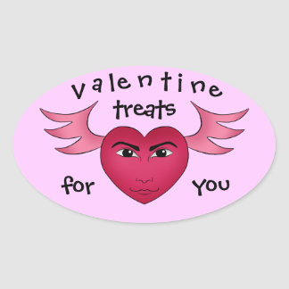 Funny Valentine s day heart with wings Oval Sticker