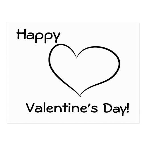 Funny Valentine's Day Black & White Heart Postcard