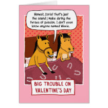 Funny Valentine's Day Card: Horse Trouble Card
