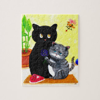 Funny Valentine's Day Cat Cupid Creationarts Jigsaw Puzzle