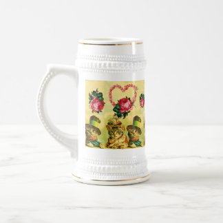 FUNNY VALENTINE'S DAY CATS WITH PINK ROSE HEART BEER STEIN