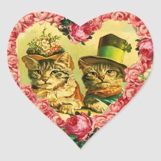 FUNNY VALENTINE'S DAY CATS WITH PINK ROSE HEART HEART STICKER