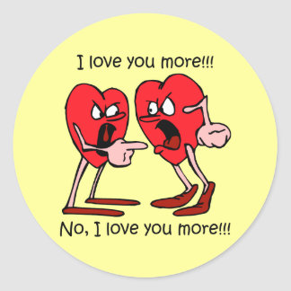 Funny Valentine's Day Classic Round Sticker