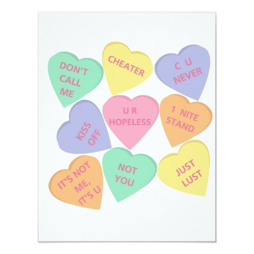 conversation hearts valentines day cards s day conversation hearts card zazzle 6067