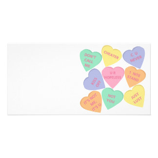 Funny Valentine's Day conversation hearts Photo Card