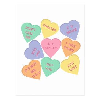 Funny Valentine's Day conversation hearts Postcard