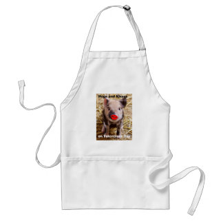 Funny Valentines Day Cute Funny Piglet Adult Apron