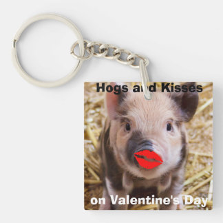 Funny Valentines Day Cute Little Piglet Double-Sided Square Acrylic Keychain