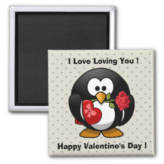 Funny Valentines Day Cute  Penguin Magnets
