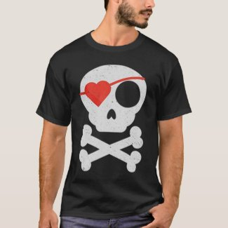 Funny Valentine's Day Heart Pirate Skull & Bones T-Shirt