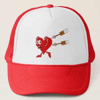 Funny Valentine's Day Heart Running from Arrows Trucker Hat