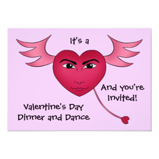 Funny Valentine's day heart with wings Card