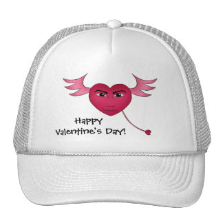 Funny Valentine's day heart with wings Hat