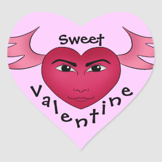 Funny Valentine's day heart with wings Heart Sticker