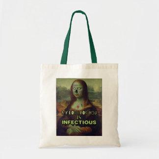 Funny Valentine's Day Mona Lisa Zombie Love Tote Bag