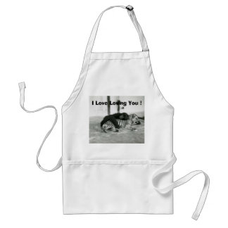 Funny Valentines Day Monkey and Tiger Adult Apron