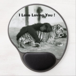 Funny Valentines Day Monkey and Tiger Gel Mouse Mats