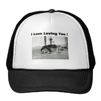 Funny Valentines Day Monkey and Tiger Trucker Hat