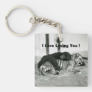 Funny Valentines Day Monkey and Tiger Keychain