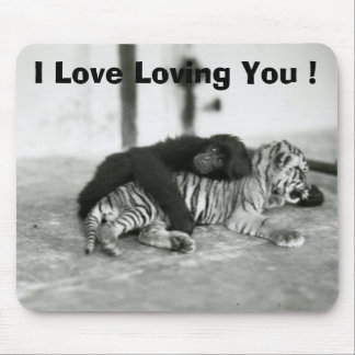 Funny Valentines Day Monkey and Tiger Mousepads