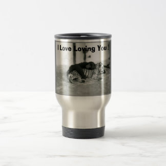 Funny Valentines Day Monkey and Tiger 15 Oz Stainless Steel Travel Mug